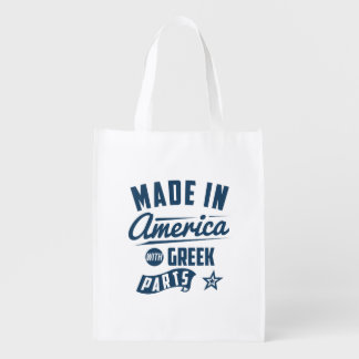 Made In America With Greek Parts Reusable Grocery Bag