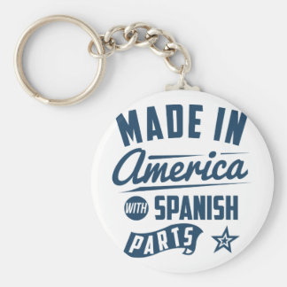 Made In America With Spanish Parts Basic Round Button Keychain
