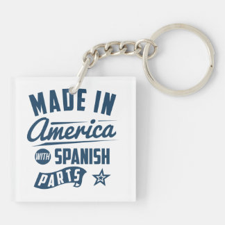 Made In America With Spanish Parts Double-Sided Square Acrylic Keychain