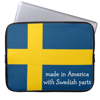 Made in America with Swedish Parts with Flag Laptop Sleeve