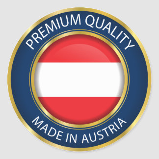 Made in Austria Flag, Austrian Seal, Icon Classic Round Sticker