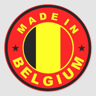 made in belgium country flag label stamp round sticker