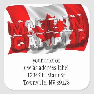 Made in Canada (Flag Background) Square Sticker