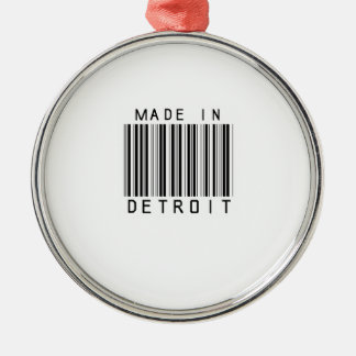 Made in Detroit Barcode Metal Ornament