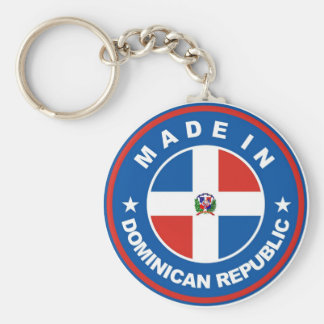 made in dominican republic flag label round stamp basic round button keychain