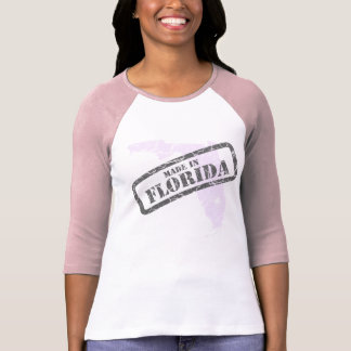 Made in Florida Grunge Map Ladies Pink Raglan T-Shirt