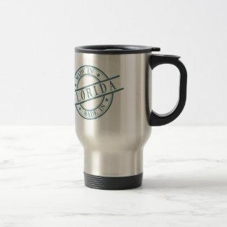 Made In Florida Stamp Style Logo Symbol Green Travel Mug