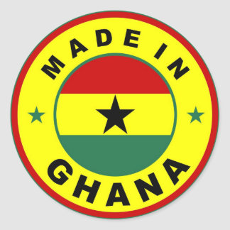 made in ghana country flag label round stamp