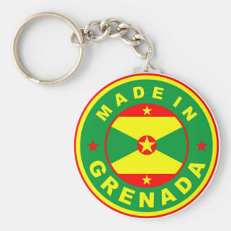 made in grenada country flag product label round keychain