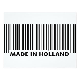 """made in holland barcode icon 4.25"""" x 5.5"""" invitation card"""