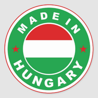 made in hungary country flag label round stamp