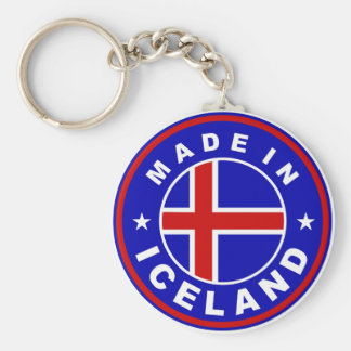made in iceland country flag product label round keychain