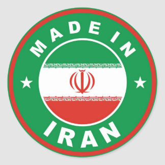 made in iran country flag label round stamp