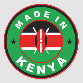 made in kenya country flag product label round