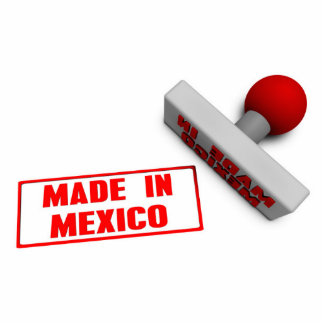 Made in Mexico Stamp or Chop on Paper Concept Photo Sculpture Button