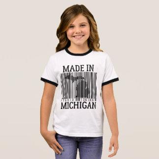 made In Michigan Barcode Girls Ringer Tee