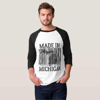 Made In Michigan Barcode Raglan Tee