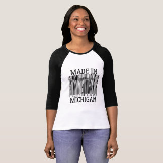 Made In Michigan Barcode Womens Raglan Tee