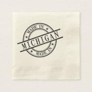 Made In Michigan Black Rubber Stamp Style Logo Napkin