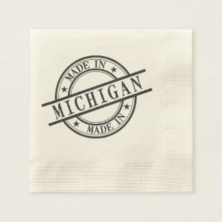 Made In Michigan Black Rubber Stamp Style Logo Paper Napkins