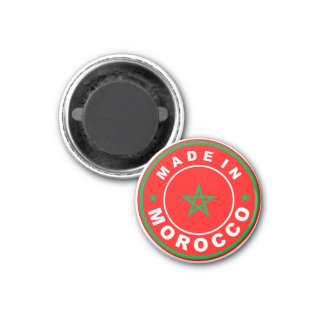 made in morocco country flag product label round magnet