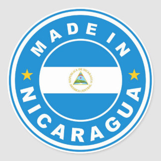 made in nicaragua country flag product label round round sticker