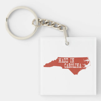 Made In North Carolina Single-Sided Square Acrylic Keychain