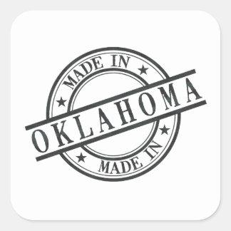 Made In Oklahoma Stamp Style Logo Symbol Black Square Sticker