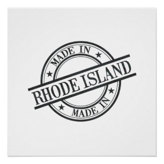 Made In Rhode Island Stamp Style Logo Symbol Black Perfect Poster