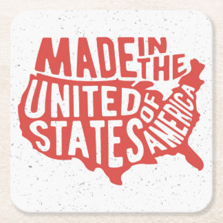 Made in the United States of America Typography Square Paper Coaster
