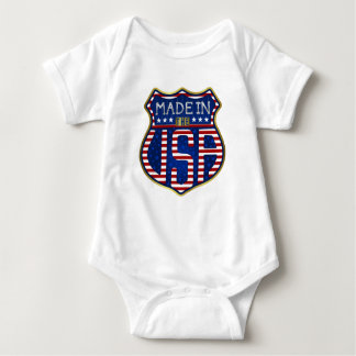 Made in the USA 4th of July Proud American Emblem Baby Bodysuit