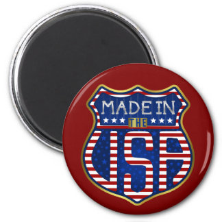 Made in the USA 4th of July Proud American Logo 2 Inch Round Magnet