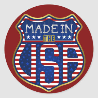 Made in the USA 4th of July Proud American Logo Classic Round Sticker