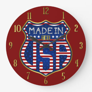Made in the USA 4th of July Proud American Logo Clocks