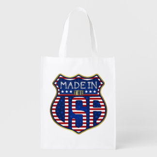 Made in the USA 4th of July Proud American Logo Grocery Bag