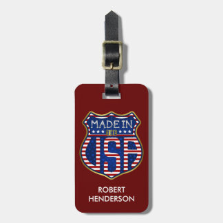 Made in the USA 4th of July Proud American Logo Luggage Tag