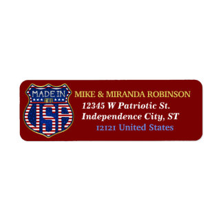 Made in the USA 4th of July Proud American Logo Return Address Label