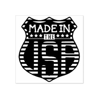 Made in the USA 4th of July Proud American Logo Rubber Stamp