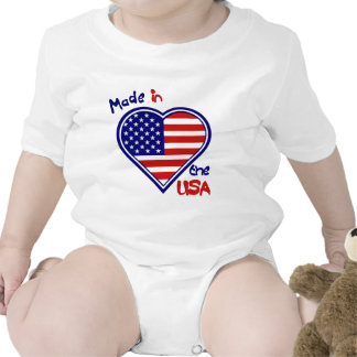 Made in the USA  Heart Flag Infant Creeper