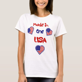 Made in the USA Heart Flags Ladies Baby Doll T T-Shirt