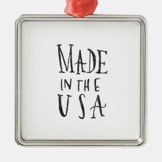 Made in the USA Silver-Colored Square Ornament