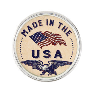 Made in the USA Vintage Eagle and Flag Lapel Pin