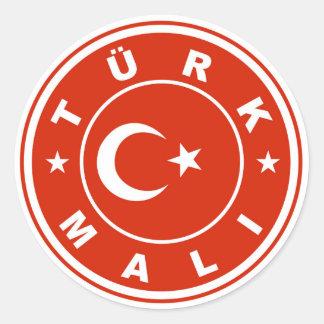 made in turkey country flag label turk mali round sticker