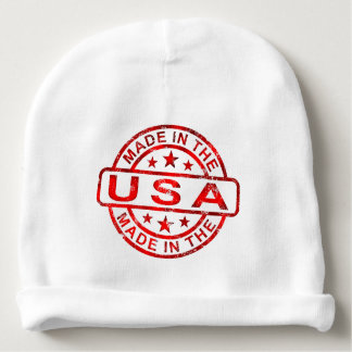 made in usa, america united states, red art baby beanie