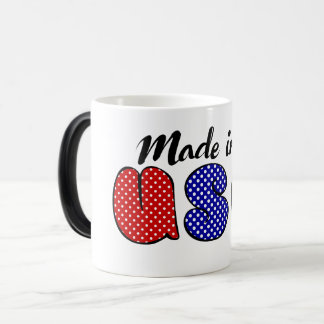 """Made in USA"" cute doode sign, patriotic 4th Magic Mug"