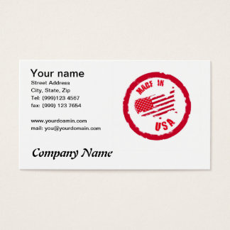 Made in USA rubber stamp design business card