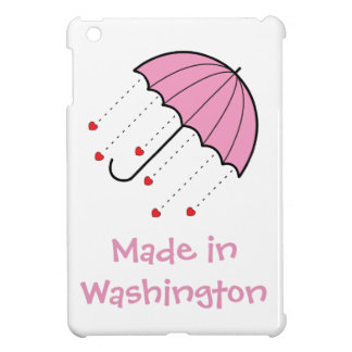 Made In Washington - Umbrella with Hearts (Pink) iPad Mini Covers