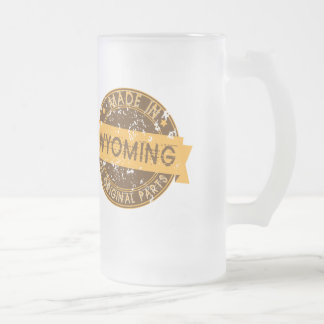 Made In Wyoming Frosted Glass Beer Mug