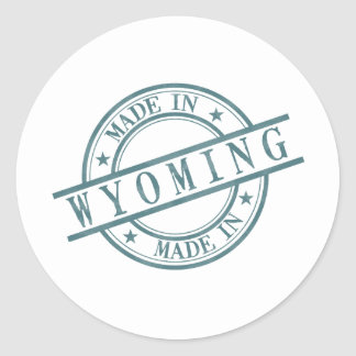 Made In Wyoming Stamp Style Logo Symbol Green Classic Round Sticker