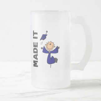 MADE IT Stick Figure Graduation Frosted Glass Beer Mug